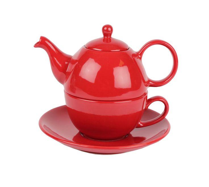 Te-set; kanna och kopp med fat, av keramik. Handgjord och Fair Trade.
