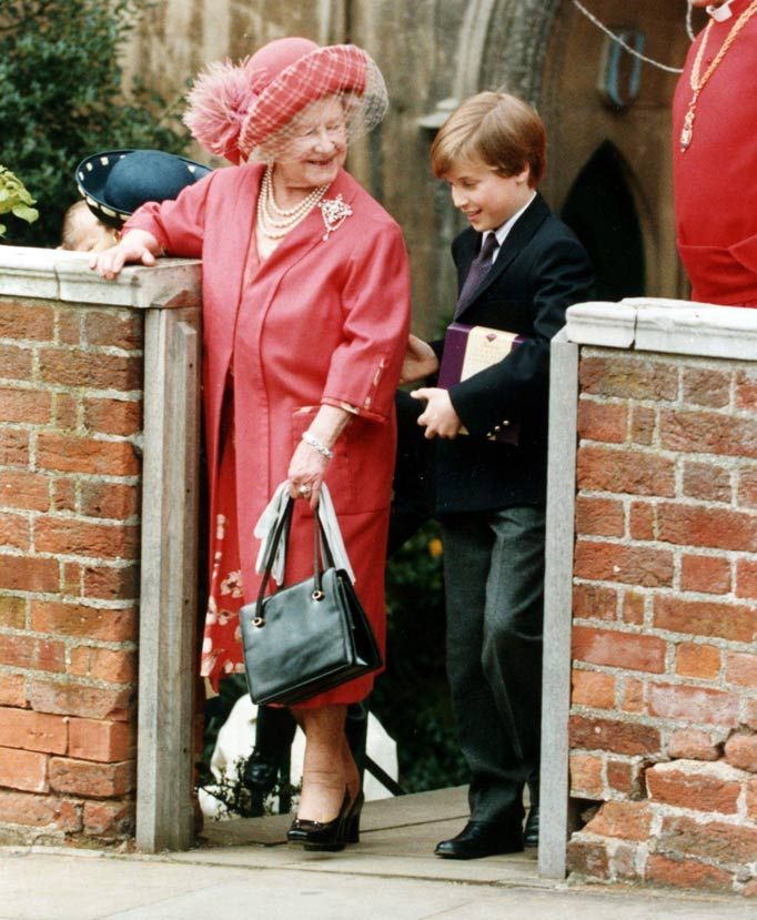 "A helping hand for Great Gran. Photographer Arthur explains: ""I love this shot of Prince William caught in a tender, respectful moment with the Queen Mum at Easter in 1992.  ""The shot was taken at St George's Chapel, Windsor and I've heard that William likes it so much he keeps a copy of it too."""