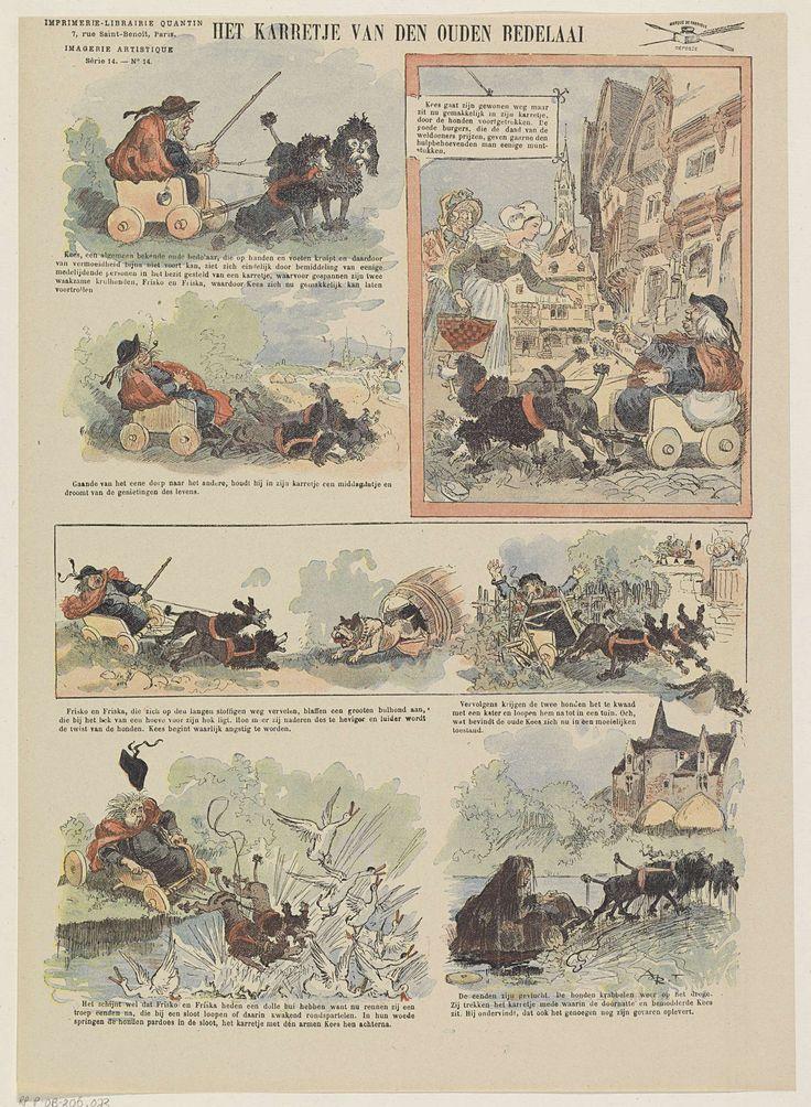 Albert Quantin | Een karretje van den ouden bedelaar, Albert Quantin, unknown, 1876 - 1890 | Blad met 7 voorstellingen van een bedelaar in een hondekar. De honden rennen achter een kat aan en springen in een sloot met eenden. De bedelaar belandt in de sloot. Onder elke afbeelding een onderschrift. Genummerd linksboven: Série 14. - No. 14.