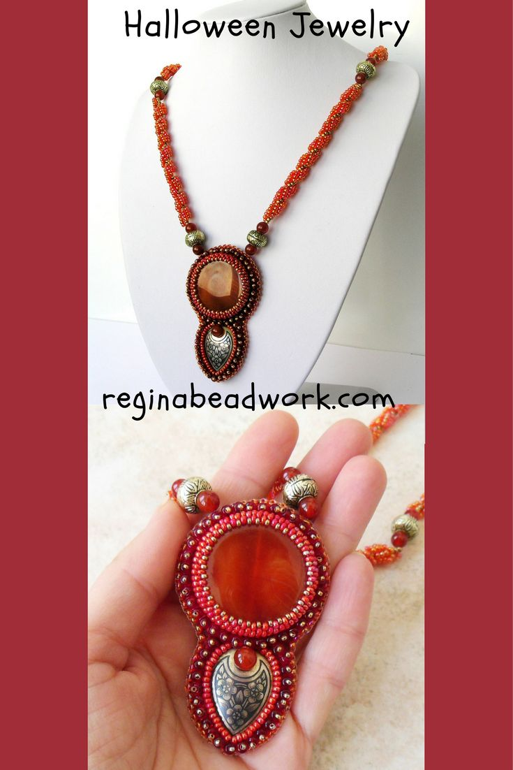 Bead Embroidery Pendant Natural Agate Crochet Rope Orange Handmade Unique Long Necklace Christmas Gift Halloween Party / Хэллоуин украшения идеи
