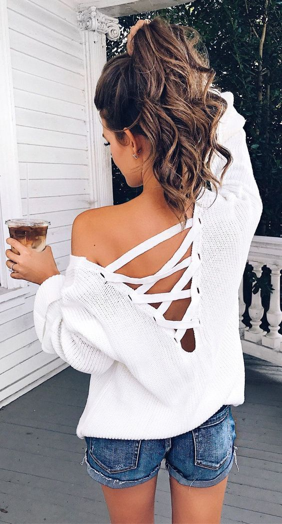 #summer #outfits White Lace-up Knit + Denim Short #FashionTrendsOutfits