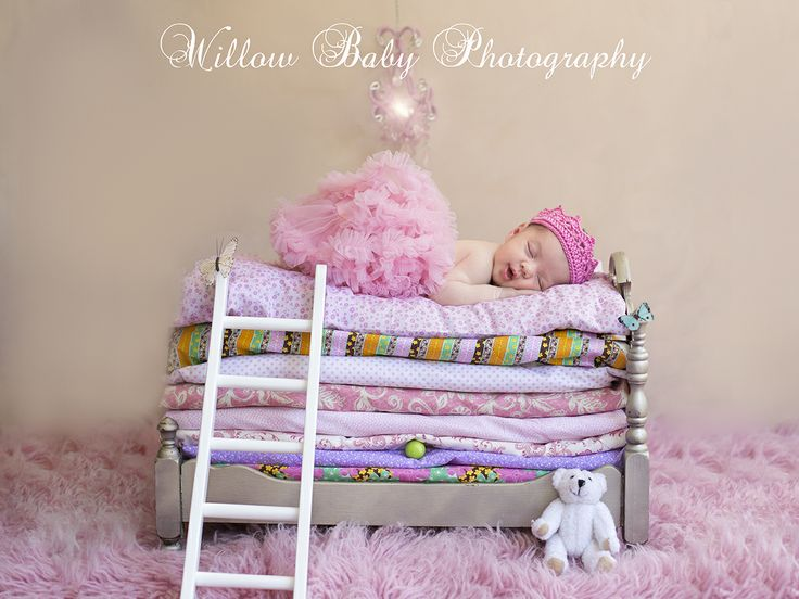 Fairytale Photo Session -Princess and the Pea newborn photo shoot - Tiny bed with baby with crown - Willow Baby Photography