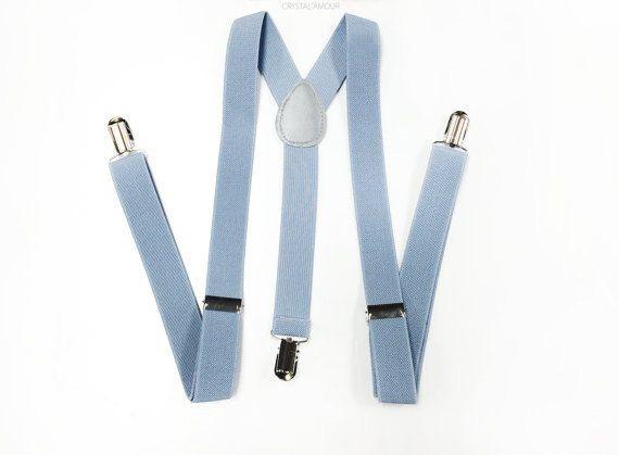 LIGHT gray suspenders dusty blue suspenders men's