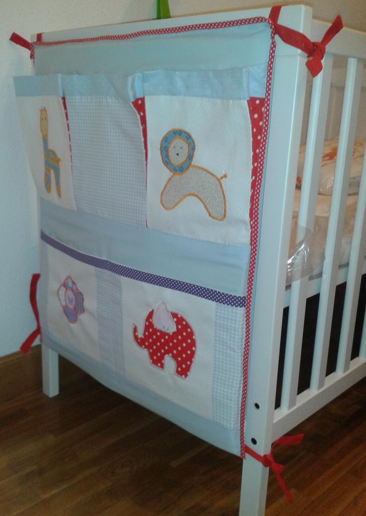 Tutorial: bolsillero para cuna de bebé Organizador para cuna de bebé Tutorial - baby organizer diy