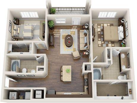 2 bedroom house plans with open floor plan