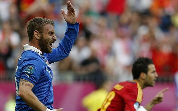 De Rossi = Not Happy....  #Azzurri #Euro2012 #Italy
