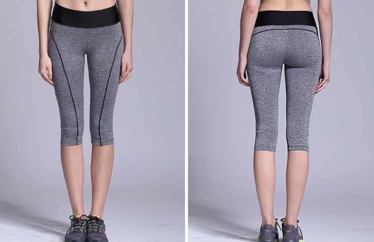 [ATHLETE] Women Sports Capri Leggings Yoga Pants Fitness Running Woman Gray Pant #Athlete #PantsTightsLeggings