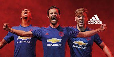 Nouveau Maillot Manchester United Exterieur 2016 2017 la saison prochaine aura un effet special sur le bleu Et l'élément rouge, est inspiré de la victoire en coupe d'europe en 1968.