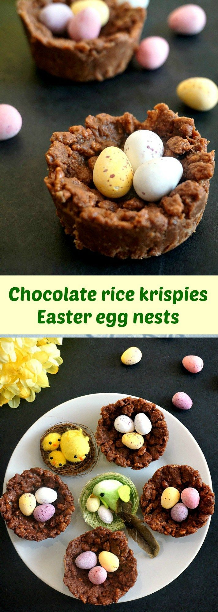 Chocolate rice krispie Easter egg nests, the sweetest Easter treat for kids.