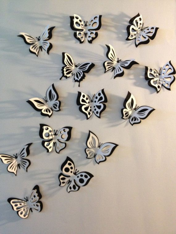 3D paper double butterfly sticker room decoration, nursery room, photo prop, in black and white, 15 pieces – Liner