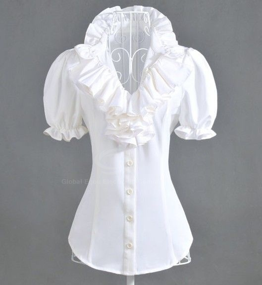 Cheap Wholesale Layered Flouncing Embellished Collar Puff Short Sleeves Design Imitation Silk Shirt For Women (WHITE,L) - Dresslily.com