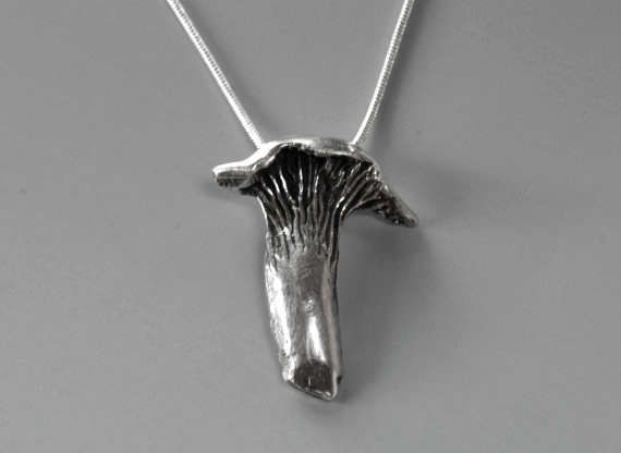 Mushroom Necklace Sterling Silver Chanterelle Pendant