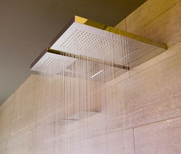 <3 Spotted at http://www.taninihome.com/it/bagno/rubinetteria.html Agua, stainless steel wall mounted waterfall showerhead by Antonio Lupi
