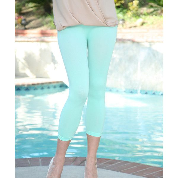 Ananda's Collection Mint Capri Leggings ($9.99) ❤ liked on Polyvore featuring pants, leggings, leggings capri, mint green leggings, mint capris, blue capri pants and stretch leggings