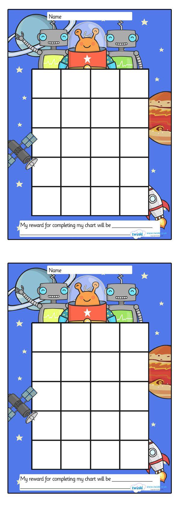 Twinkl Resources >> Space Sticker/Stamp Reward Chart  >> Classroom printables for Pre-School, Kindergarten, Elementary School and beyond! Rewards, Sticker Charts, Class Management, Behavior