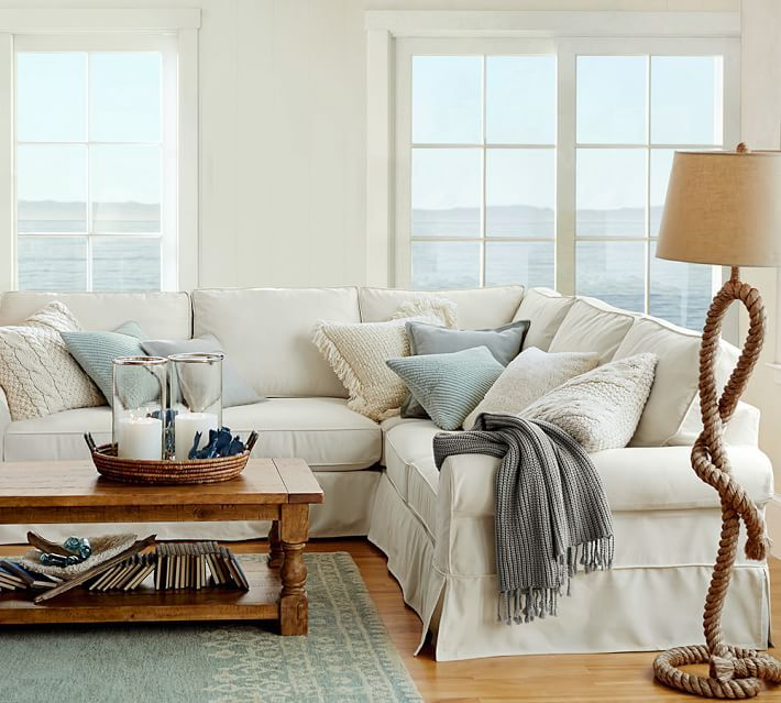 PB Comfort Slipcovered 3-Piece L-Shaped Sectional : potterybarn sectional - Sectionals, Sofas & Couches