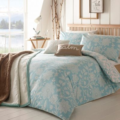 Debenhams Light blue 'Folk' floral brushed cotton bedding set- at Debenhams.com