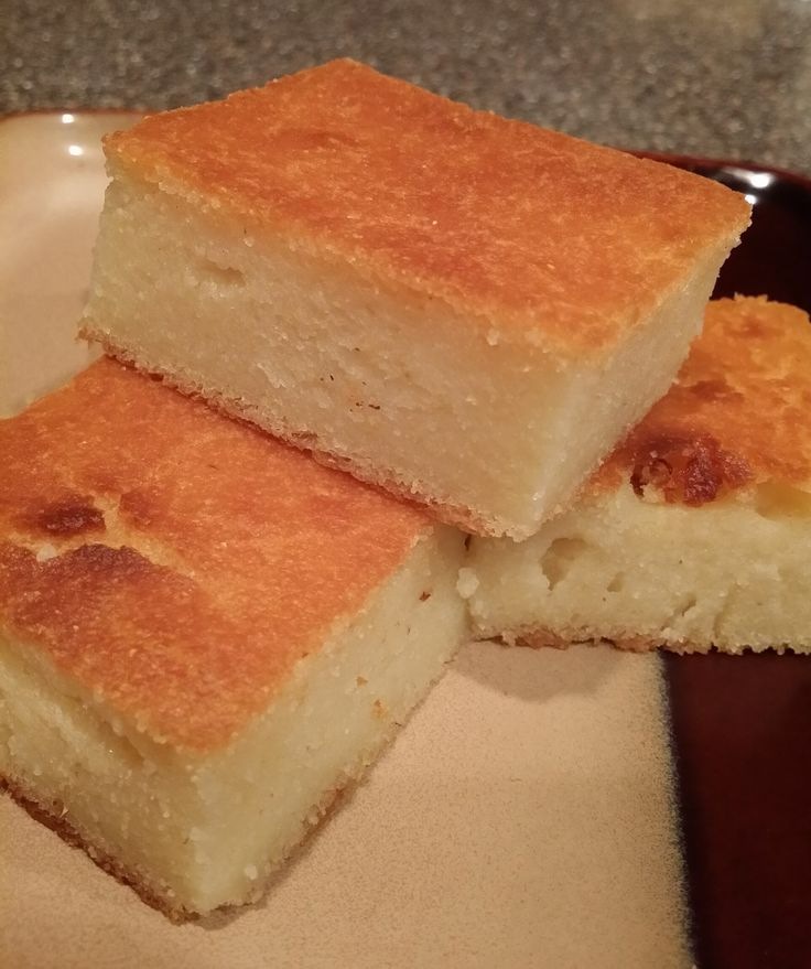 """Eastern Shore Wet Cornbread. 1 stick of butter (8Tbs) 3 cups water 1 1/2 cups whole milk 3 large eggs 2 cups self-rising white corn meal 1/2 cup all purpose flour 1 cup sugar 1 tsp salt Boil water & butter. Meanwhile, whisk cornmeal, flour, sugar & salt in lg bowl. In a small bowl, whisk eggs, add milk, whisk. When water & butter boil, pour into dry mixture, whisk as you pour & until smooth. Pour in the egg/milk mixture & stir well. Pour into greased 9x13"""" pan, bake at 400° for 50 min-1hr."""