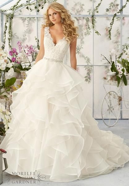 Mori Lee - Venice Lace Appliqués Sprinkled with Delicate Beading onto the Flounced Organza Skirt Removable Beaded Satin Belt #11222