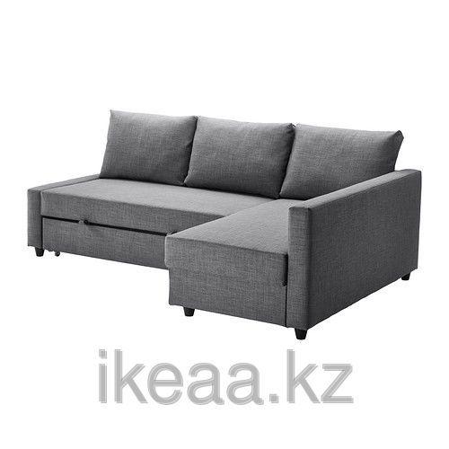 ФРИХЕТЭН Диван-кровать угловой, Шифтебу темно-серый, фото 1