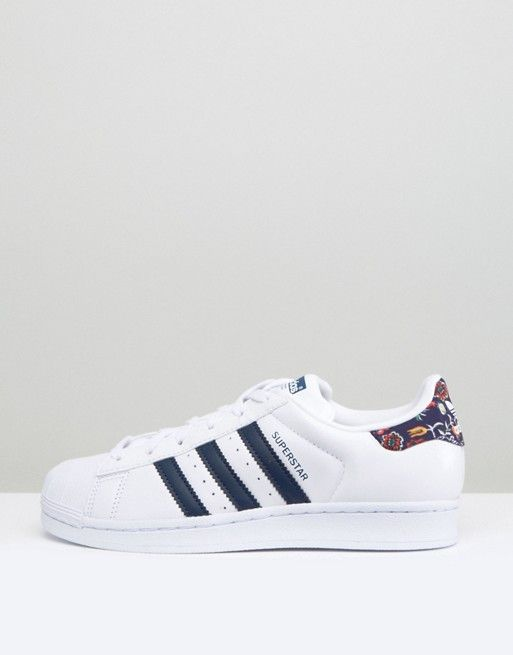 Shop adidas Originals White Superstar Sneakers With Print Detail at ASOS.