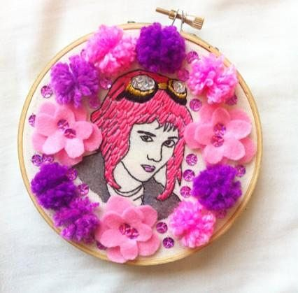 Ramona Flowers embroidery / Ramona Flowers wall decor / Scott