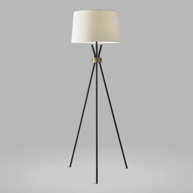 This Stunning Mid Century Modern Floor Lamp Features A Sleek Black Metal Tripod Joined At The Neck With An Antique Floor Lamp Black Floor Lamp White Floor Lamp