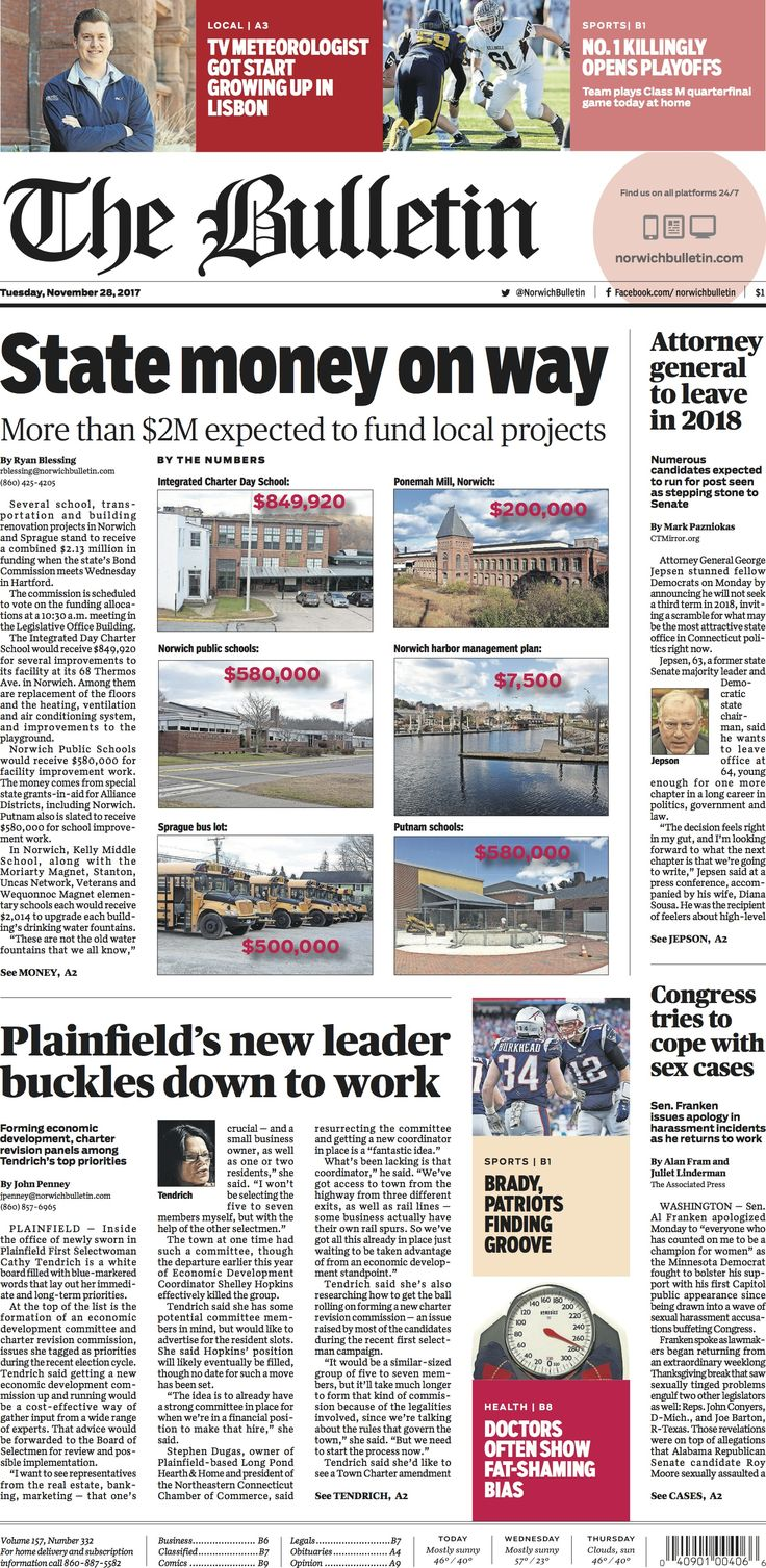 Tuesday, November 28, 2017 - Subscribe to The Bulletin today: http://www.norwichbulletin.com #ctnews #newlondoncounty #windhamcounty