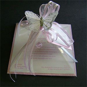 Ref Pyramid pink with crystal ( we can do any colour) www.weddingcards.co.za