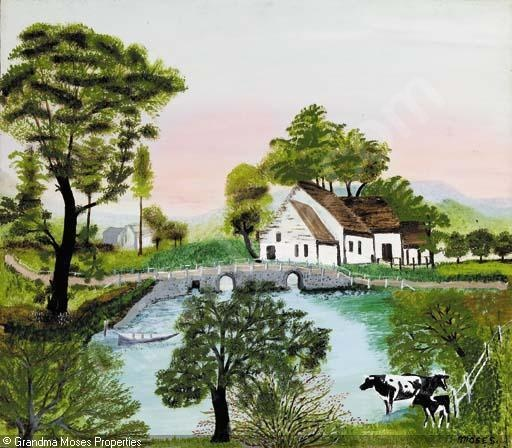 "'Farm Along the River"",  Grandma Moses"