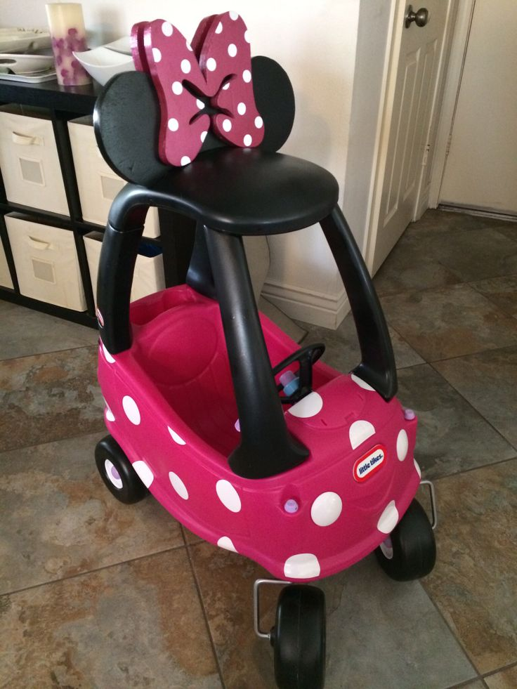 Minnie Mouse first birthday, Minnie Mouse car, first birthday, cozy coupe, first birthday party ideas, my hubby made this car for our daughter's 1st birthday!
