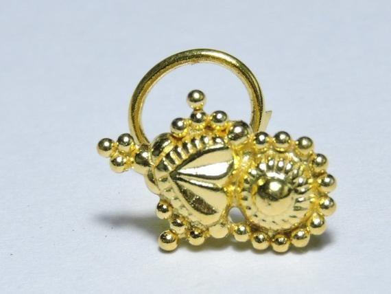 1 Stück wunderschöne 24Kt vergoldet über 92,5 Sterling Silber Indian Nose Stud für durchbohrte Nase / Hochzeit Schmuck / Bridal Nose Studs   – Products