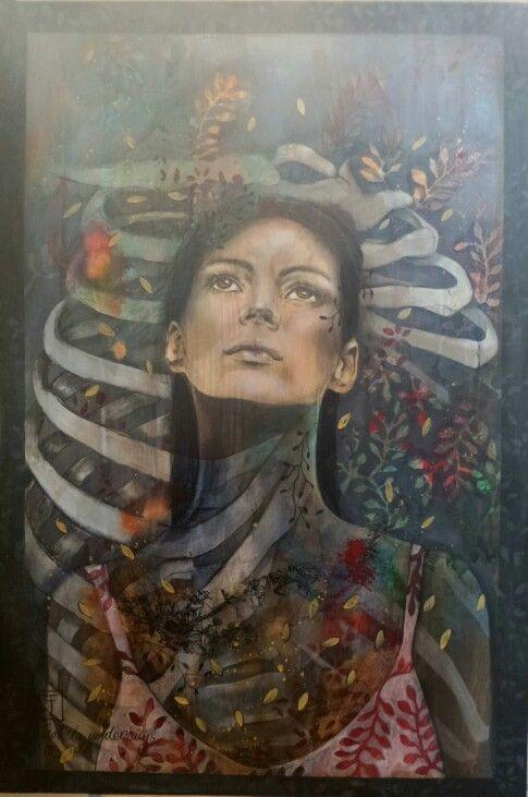 Ezek 37. Mixed media on board.. South African Artist Nicolette Geldenhuys