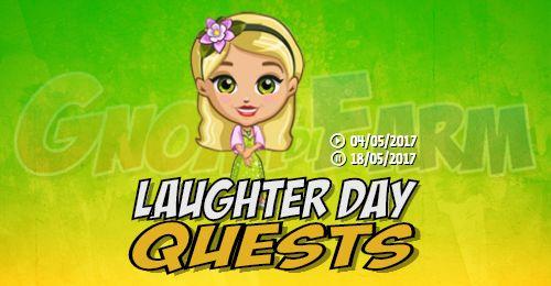 Laughter Day Quests tempo stimato per la lettura di questo articolo 3 minuti  Inizio previsto per il 04/05/2017 alle ore 13:30 circa Scadenza il 18/05/2017 alle ore 19:00 circa    Mancano 26 giorni 23 ore 59 minuti 9 secondi alla scadenza della quest!    Quest #1  Fatti mandare dai tuoi vicini 7 Laugh Token; con gli sconti SmartQuest dovrebbero servirne un massimo di 1 (clicca sul tasto Ask Friends per pubblicare la richiesta sulla tua bacheca).  Raccogli 60 zolle di Dandelion; sono…