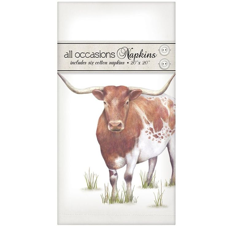 Mary Lake-Thompson Longhorn Cow Casual Cotton Linen Napkins, Set of 6