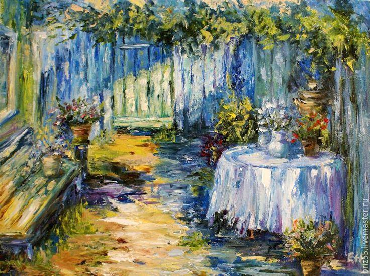 Купить Картина маслом Летний день - картина маслом, цветы, жара, полдень, картина в подарок