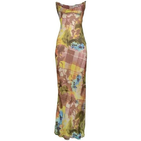 Preowned Stunning Dior By John Galliano Floral & Plaid Bias Evening... ($1,550) ❤ liked on Polyvore featuring dresses, gowns, multiple, floral evening gown, brown evening dress, pre owned evening gowns, floral dresses and low back gown