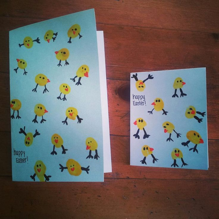 Thumb-print Easter cards.  Yellow paint thumb print.  Black paint add legs and eyes.  Orange paint add beak.  Easy even for the littlest of kids :)  I wrote the year and the child's name on the back of the card.