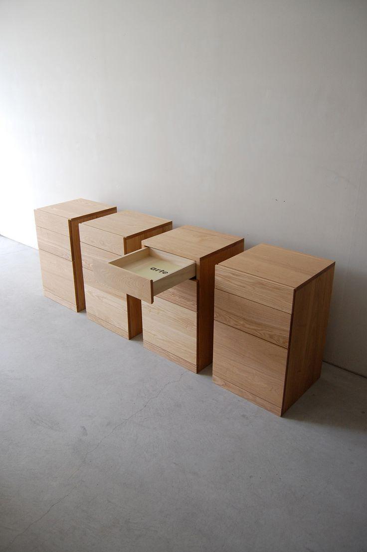 190 | 01_Standard furniture Plate desk cabinet : W400 D400 H665 / Solid ash oil finish