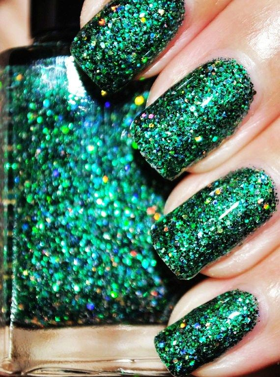 on a budget green and gold glitter nail polish 15ml 5oz-f10950