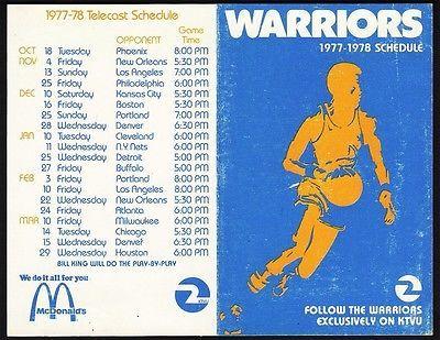Golden State Warriors **RARE** 1977/78 Pocket Schedule VTG NBA McDonalds Promo