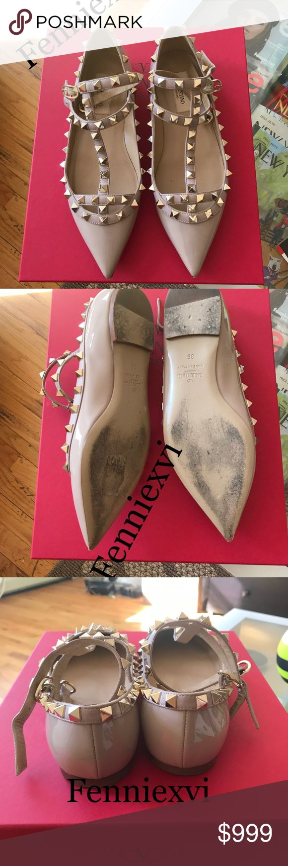 Valentino Rockstud Flats Nude Patent Size 6 100% authentic, worn once! NO scuffs or marks on the surface of the leather. 9/10. Highly sought after classic color, sold out! Comes with original box and dustbag. NO TRADES! vixfennie@gmail for offers, questions and pictures. Look at my previous sales and comments from buyers. NO SCAMMERS🙅 Valentino Shoes Flats & Loafers