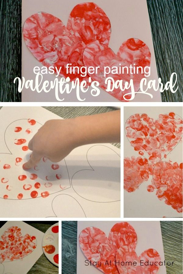 Easy Finger Painting Valentines for Kids to Make - Valentine's cards for kids to make, Valentine's process art for preschoolers, fun Valentine's activities for kids #valentinesday #kidsactivities #preschool