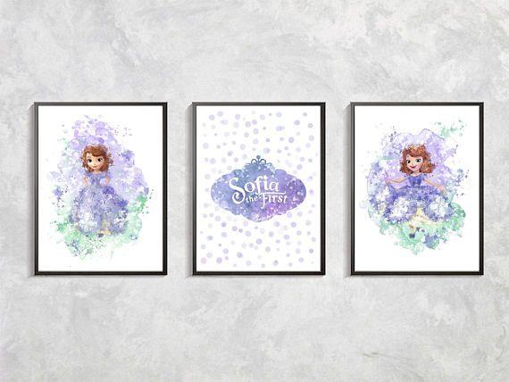 Princess Sofia print set , Sofia the First watercolor, Birthday party Sofia the First, Princess Sofia artwork, Girl room decor, Sofia decor