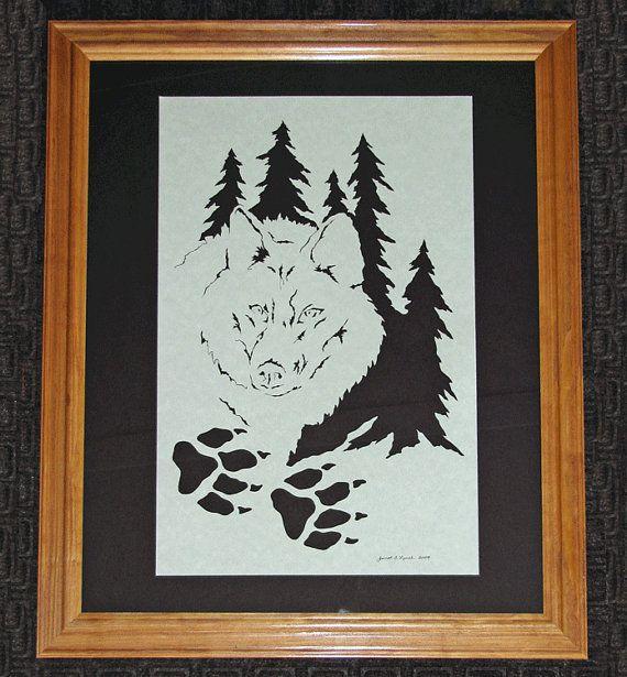 Wolf  Scherenschnitte  Hand Paper Cutting Art by ArtGalleryRiverRd, $79.00