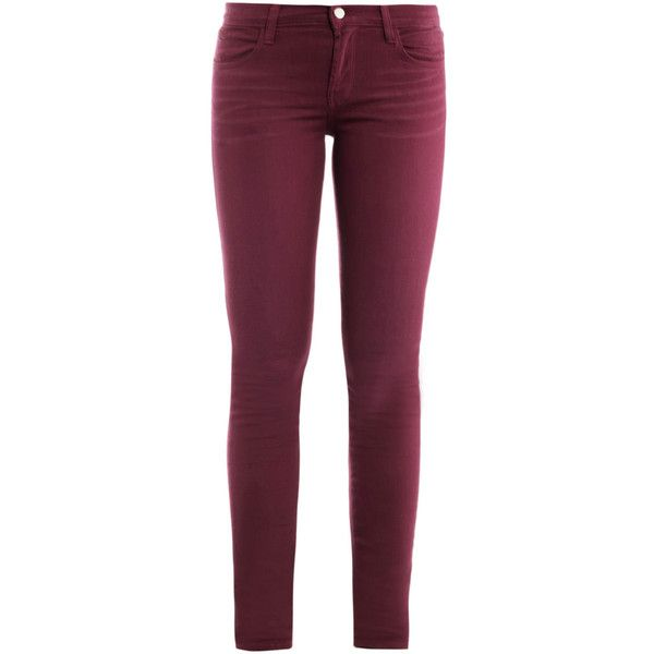 J BRAND 620 mid-rise skinny jeans (295 BRL) ❤ liked on Polyvore featuring jeans, pants, bottoms, pantalones, plum, plum jeans, skinny fit jeans, j brand skinny jeans, medium rise jeans and purple skinny jeans