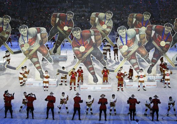 Hockey Player formations and blocking for the 2010 Vancouver Winter Olympic Games. Steve Thomson, Air Brand Marketing.