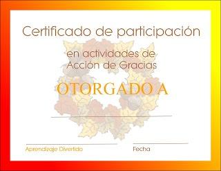 Aprendizaje Divertido: Celebrando Acción de Gracias. Imprime este Certificado luego de realizar las actividades.