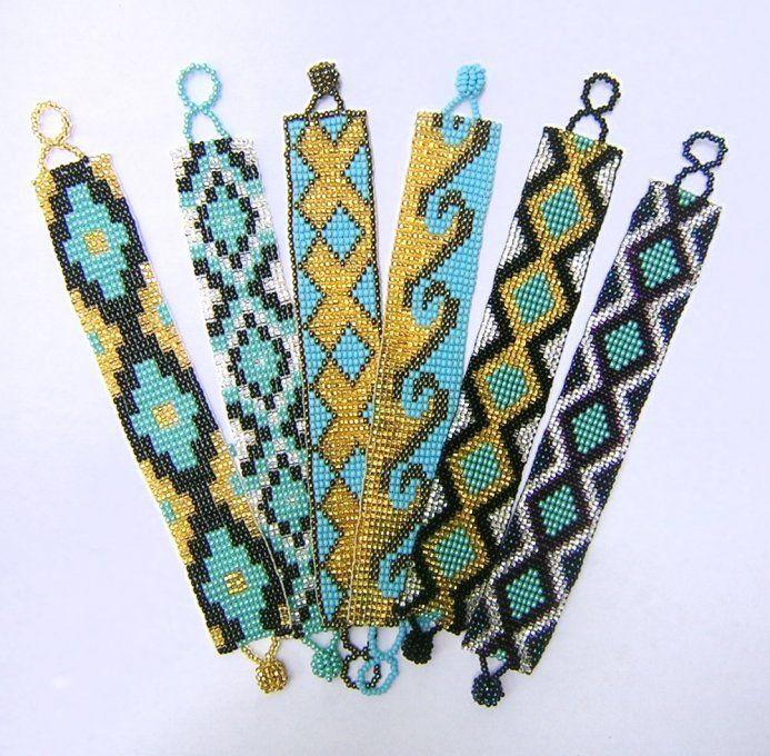 Medium - Pattern Woven Bracelet - Turquoise - Assorted