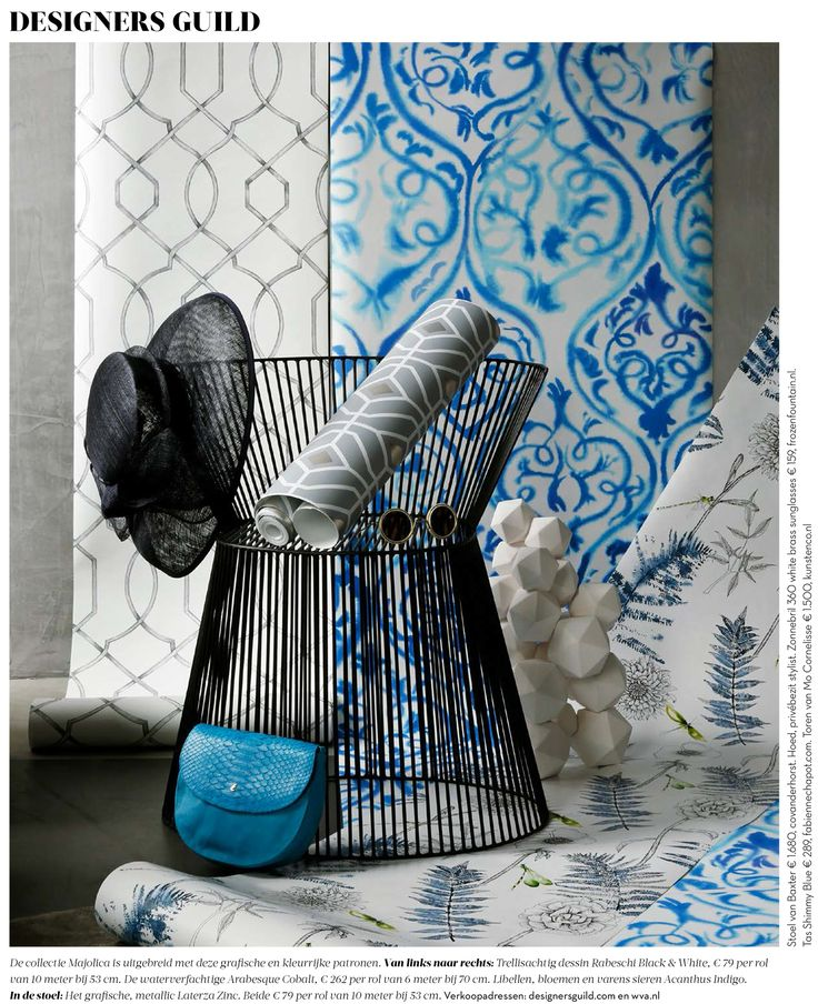 A selection of our Majolica collection wallpapers, as seen in Residence, the Netherlands